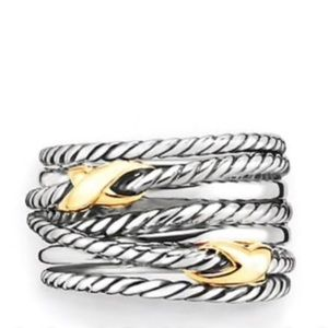 David Yurman AUTHENTIC cable X crossover 18k 925